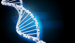 DNA molecule on abstract blue background, closeup
