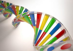 3D illustration, colorful dna, concept of genetic engineering or genetic modification.